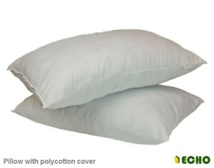 Filled Bounce Back Hollow Fibre Pillows Pair Size 19x29in Polycotton Cover Extra