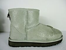 UGG Classic Mini Glitzy 1019637 Boots Gray Leather Women's Size 6