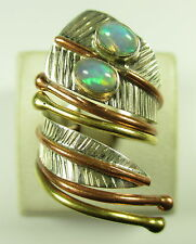 925 Sterling Argento Anello TRICOLORE Opal VINTAGE SILVER Modernist blogger 73x n4