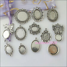 12 New Charms Silver Tone Picture Frame Pendants Mixed for DIY Crafts