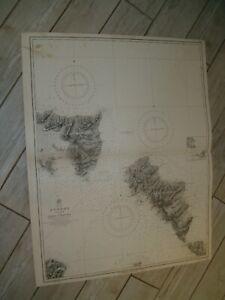 Vintage Admiralty Chart 1820 GREEK ISLANDS - ANDROS ISLAND 1847 edn