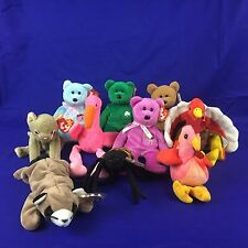 Ty Beanie Babies Lot Of 10 Different Stuffed Beanbag Plush All W/ Heart Tags #1