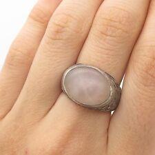 Antq 925 Sterling Silver Real Quartz Gemstone Handmade Ring Size 7 3/4