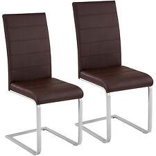 2x Esszimmerstuhl Freischwinger Stuhl Set Stühle Polsterstuhl Schwingstuhl braun