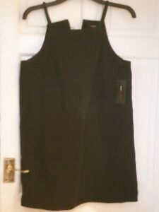 LADIES BLACK  DENIM PINAFORE DRESS SIZE 12 BNWT