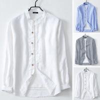 Vintage Hommes 100% coton Chemise sans col à manches longues Élégant Hauts Fête