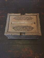 ANTIQUE ARTISAN CARVED WOOD CIGARETTE DISPENSER BOX ; 19th CENTURY (DESIGN 2)