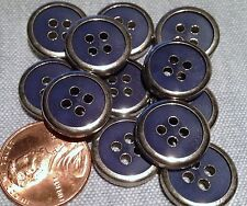 "12 Shiny Silver Tone Metal Dark Blue Plastic Buttons Almost 5/8"" 15.2mm # 7755"