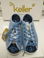 DR KELLER BLUE CANVAS WIDE FIT LACE UP SHOES, PEEPTOE  ANNIS SIZE 4