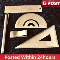 Brass Handmade Handicraft Tool Triangle Ruler Protractor Wallet Pen PRECISION OZ