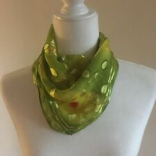 1970s Vintage 100% Silk Sheer Green Rose Floral Dyed Square Scarf