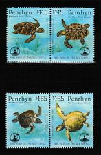Sea Turtles 2 se-tenant pairs of mnh stamps 1995 Penrhyn #447-8 Loggerhead