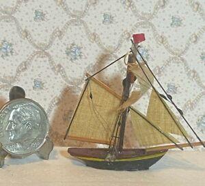 Vintage Wooden Artisan  Single Masted Sailing Vessel Handmade Dollhouse 1:12