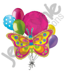 7pc Colorful Butterfly Balloon Bouquet Decoration Happy Birthday Baby Shower Bug