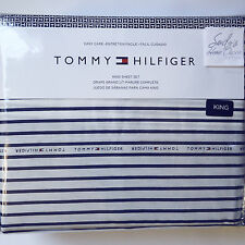 Tommy Hilfiger SIGNATURE STRIPE 4p KING BED SHEET SET Navy Blue XDP COTTON Poly