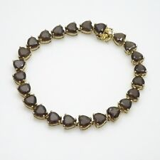 "18kt Gold O/ Sterling Silver 25.43ctw - Heart Shape Smoky Quartz Bracelet- 8.00"""