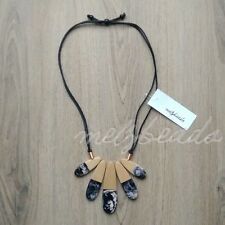Wooden Bead Necklace Women Statement Necklace Ladies Retro Marbled Resin Black