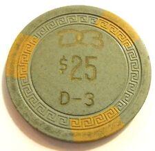 $ 25 DORADO BEACH DB Casino chip Puerto Rico DBE25b D-3 Small Key 1960s Grn-Yel