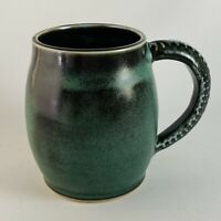 Green Signed Studio Art Pottery Mug Embossed Handle Jill Coldiron Handmade EUC