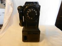 Vintage Hanging Black Ceramic Rotary Dial Wall Telephone Wall Piggy Bank