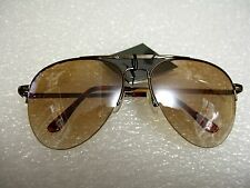 CLASSIC AVIATOR SUNGLASSES LIGHT BROWN COLOR TINTED LENS ALL METAL FRAME