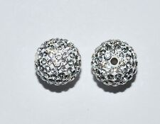 2 10mm Swarovski Pave Ball Beads Crystal Clear - AS40