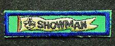 """BSA mint """"SHOWMAN"""" Cub Scout, participation / activity strip, uniform wear patch"""