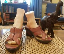 Sanita Pink Salmon Leather Slip On Casual Wedge Heel Sandals US 8-8.5/EUR 39 EUC