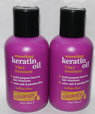 Lot of 2 Oliology Smoothing Keratin Oil 7-in-1 Leave-In Hair Treatment 4 oz Ea *