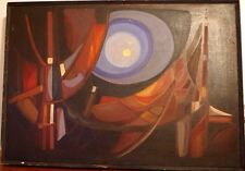 Outsider Art Abstract Expressionism Oil On Canvas Painting Signed Amram