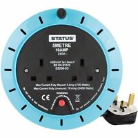 EXTENTION REEL SOCKET BLUE BLACK HOME OFFICE 2 GANG 10 AMP 5 METRE NEW
