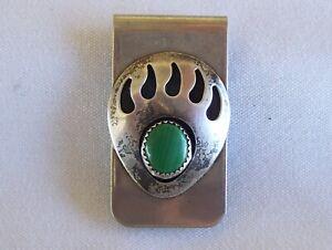 Vintage Sterling Silver Native Navajo Bear Claw Green Malachite Money Clip 20.2g