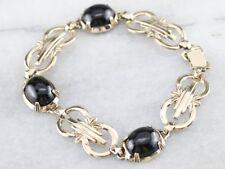 Vintage Black Onyx Cabachon Sterling Silver 14k Gold Finish Link Bracelet
