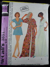 McCall's Vintage 1973 Nightgown & Robe Pattern 3851 Size 12 Bust 34 UNCUT