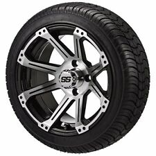 Set of 4 - 205/30-14 Tire on a 14x7 Black/Machined Type 11 Wheel w/FREE freight