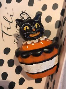 Johanna Parker Black Cat Cupcake Hanging Ornament Decoration Halloween