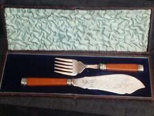 ANTIQUE  English ORNATE EPNS FISH SERVING SET KNIFE AND FORK  In Original Box