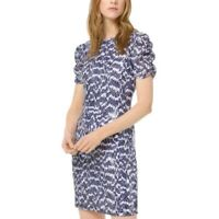 MICHAEL KORS Women's White/navy Sequined Lace Ruched-sleeve Sheath Dress XS TEDO