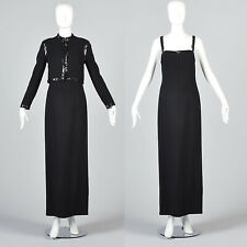 S Vintage 1970s 70s Luis Estevez Black Wool Evening Dress Jacket Set Formal Gown