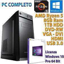 Ordinateur PC Bureau AMD Ryzen 5 3400G RAM 8GB HDD 1TB Rw HDMI Windows 10 Pro