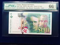France 500 Francs 1994-95 Pmg 66 Gem Unc EPQ  Pick# 160a