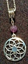 MANDALA NECKLACE WITH REAL FACETED AMETHYST BEAD ON SILVER PLATED CHAIN