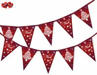Noel Snowflake Red Christmas Tree Bunting Banner 15 flags by PARTY DECOR