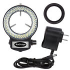 AmScope 144 LED Adjustable Compact Microscope Ring Light + Adapter Black Finish