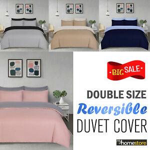 Microfibre Plain Dyed Reversible Duvet Cover Set Bedding Sets Double Bed Size