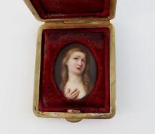 Biedermeier Porzellanbild im Etui, handgemaltes Damen Portrait