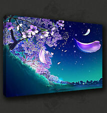 BEAUTIFUL BLUE BLOSSOM TREE WALL ART CANVAS PRINT PICTURE READY TO HANG