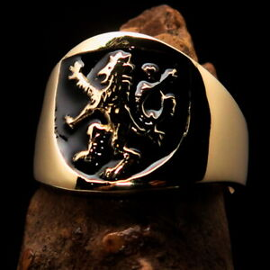 ROUND MENS BRASS MEDIEVAL COSTUME RING SCOTTISH RAMPANT LION SEAL BLACK SIZE 12