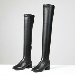 Women Ladies Leather Over Knee Boots Low Block Heel Thigh Stretch Shoes US Size