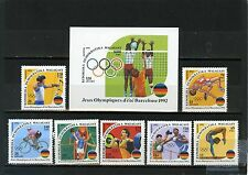 MADAGASCAR 1992 SUMMER OLYMPIC GAMES BARCELONA SET OF 7 STAMPS & S/S MNH